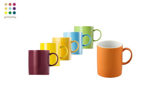 Thomas Porzellan Sunny Day colours Kaffeebecher Becher 6er Set bunt gemischt Set 1